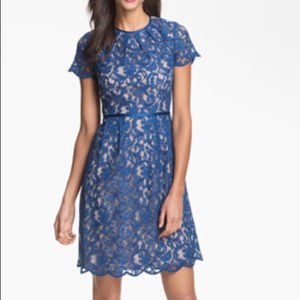 Adrianna Papell Blue Lace Dress Size 8